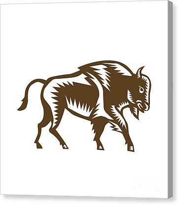 American Bison Woodcut Canvas Print by Aloysius Patrimonio