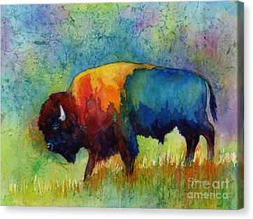 Animal Abstract Canvas Print - American Buffalo IIi by Hailey E Herrera