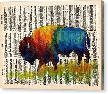 Bison Canvas Print - American Buffalo IIi On Vintage Dictionary by Hailey E Herrera