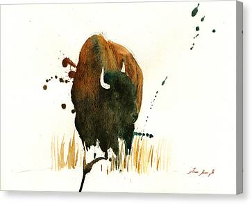 American Buffalo Painting Canvas Print by Juan  Bosco