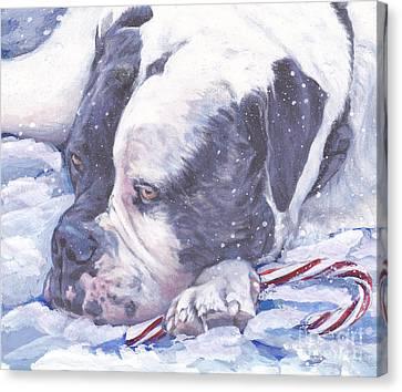 American Bulldog Christmas Canvas Print by Lee Ann Shepard
