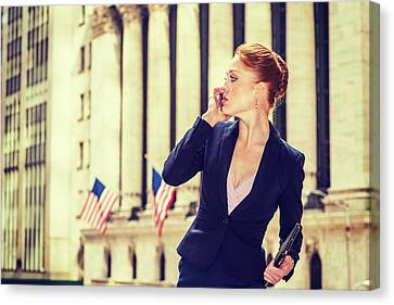 American Businesswoman Working In New York Canvas Print