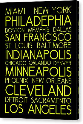 Bus In San Francisco Canvas Print - American Cities In Bus Roll Destination Map Style Poster  by Celestial Images