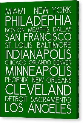 Bus In San Francisco Canvas Print - American Cities In Bus Roll Destination Map Style Poster - Green  by Celestial Images