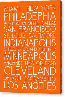 Bus In San Francisco Canvas Print - American Cities In Bus Roll Destination Map Style Poster - Orange by Celestial Images