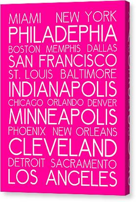 Bus In San Francisco Canvas Print - American Cities In Bus Roll Destination Map Style Poster - Pink by Celestial Images