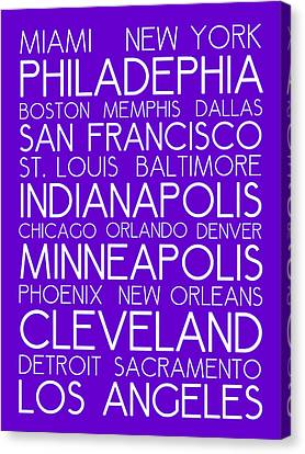 Bus In San Francisco Canvas Print - American Cities In Bus Roll Destination Map Style Poster - Purple by Celestial Images