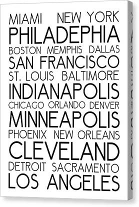Bus In San Francisco Canvas Print - American Cities In Bus Roll Destination Map Style Poster - White by Celestial Images
