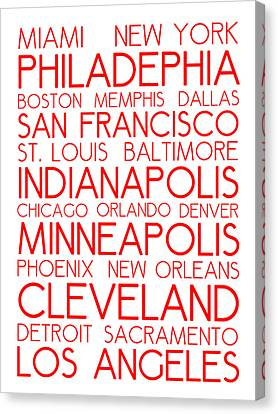 Bus In San Francisco Canvas Print - American Cities In Bus Roll Destination Map Style Poster - White-red by Celestial Images
