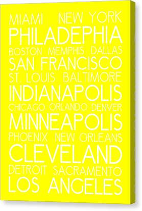 Bus In San Francisco Canvas Print - American Cities In Bus Roll Destination Map Style Poster - Yellow by Celestial Images