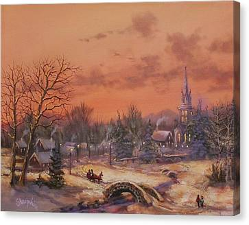 Snow Scene Canvas Print - American Classic by Tom Shropshire