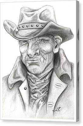 American Cowboy - Portrait Of A Western Grandfather Canvas Print by Janice Moore