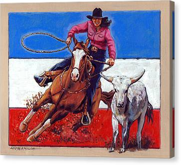 American Cowgirl Canvas Print by John Lautermilch
