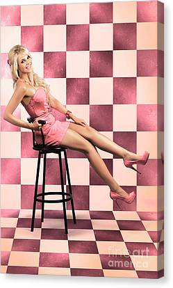 American Culture Pin Up Girl Inside 60s Retro Diner Canvas Print by Jorgo Photography - Wall Art Gallery
