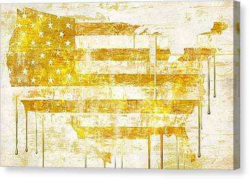 American Flag Map Canvas Print by Mindy Sommers