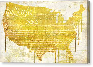 Gold American Map Constitution Canvas Print by Mindy Sommers