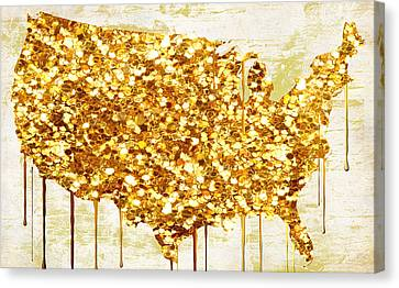 Glitter Gold American Map Canvas Print by Mindy Sommers
