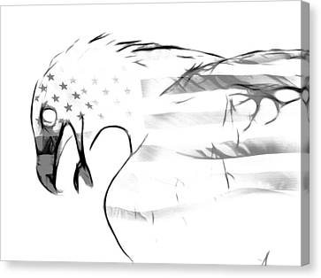 American Eagle Black And White Canvas Print