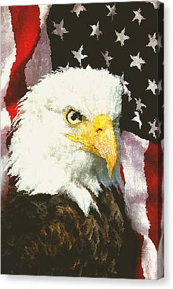 Eagle And Flag Canvas Print - American Eagle by Daniel Hagerman