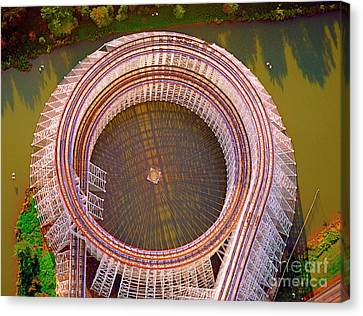 Canvas Print featuring the photograph American Eagle Roller Coaster  by Tom Jelen