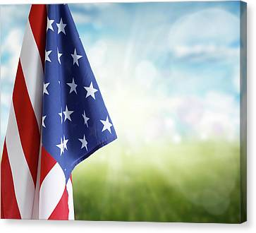 American Flag 6 Canvas Print by Les Cunliffe
