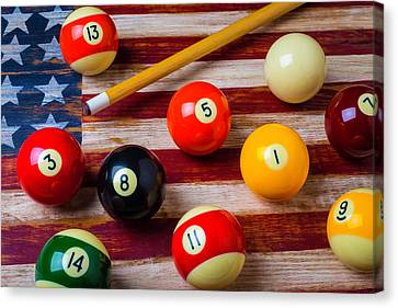 American Flag And Pool Balls Canvas Print by Garry Gay