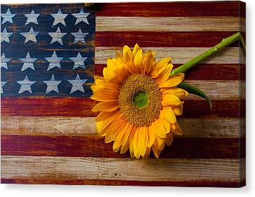 American Flag And Sunflower Canvas Print by Garry Gay