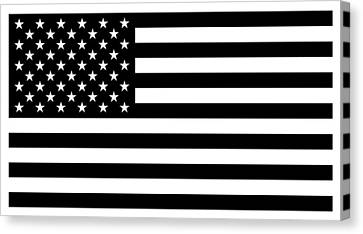 American Flag - Black And White Version Canvas Print by War Is Hell Store