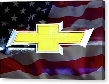 American Flag Chevy Bowtie Canvas Print