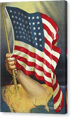 American Flag Emerging From America Canvas Print