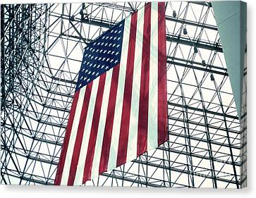 American Flag In Kennedy Library Atrium - 1982 Canvas Print by Thomas Marchessault