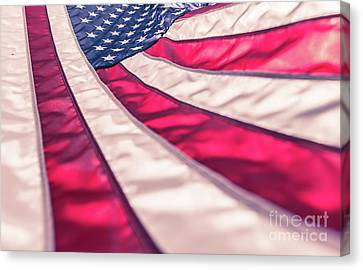 Canvas Print featuring the photograph American Flag In Red White Stripe,stars And Blue Symbolic Of Pat by Jingjits Photography