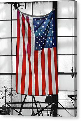 Canvas Print featuring the photograph American Flag In The Window by Mike McGlothlen