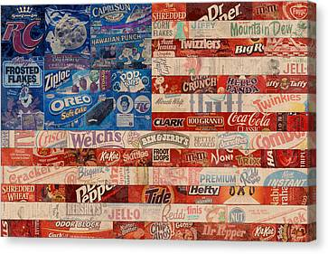 American Flag - Made From Vintage Recycled Pop Culture Usa Paper Product Wrappers Canvas Print