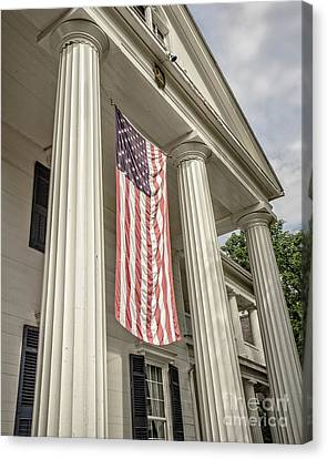 American Flag On Period House Canvas Print by Edward Fielding