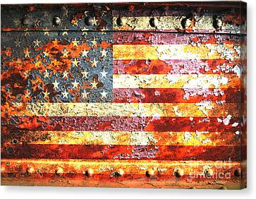 American Flag On Rusted Riveted Metal Door Canvas Print