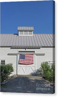 American Flag On White Barn Canvas Print by Edward Fielding