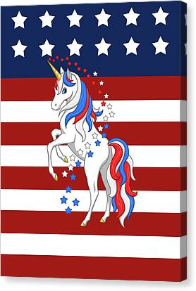 4th July Canvas Print - American Flag Patriotic Unicorn by Crista Forest
