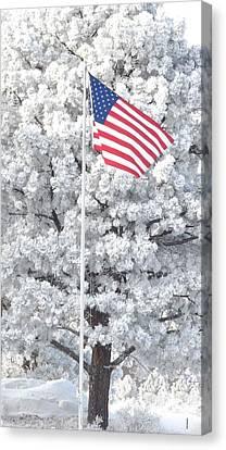 American Flag Snow  Canvas Print