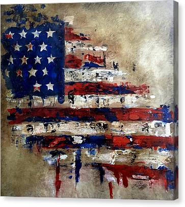 Abstract Art On Canvas Print - American Flag by Tom Fedro - Fidostudio