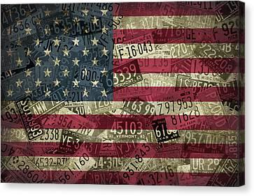American Flag Vintage Assorted License Plate Art Canvas Print