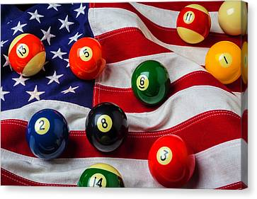 American Flag With Game Pool Balls Canvas Print by Garry Gay