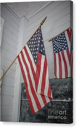 Red School House Canvas Print - American Flags by Edward Fielding