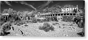 American Flat Mill Virginia City Nevada Panoramic Monochrome Canvas Print by Scott McGuire