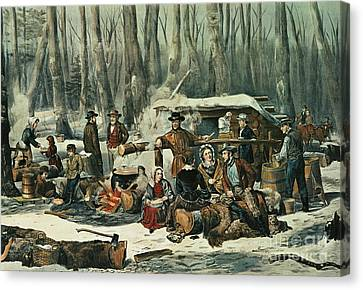 Pioneers Canvas Print - American Forest Scene by Currier and Ives