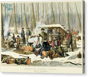 American Forest Scene Maple Sugaring Canvas Print by Currier and Ives