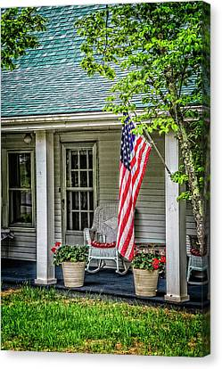 American Front Porch Canvas Print by Debra and Dave Vanderlaan
