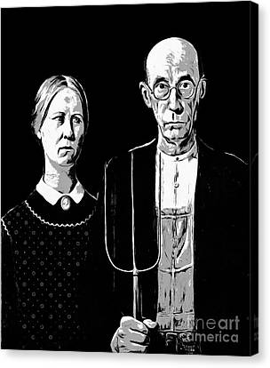 American Gothic Graphic Grant Wood Black White Tee Canvas Print