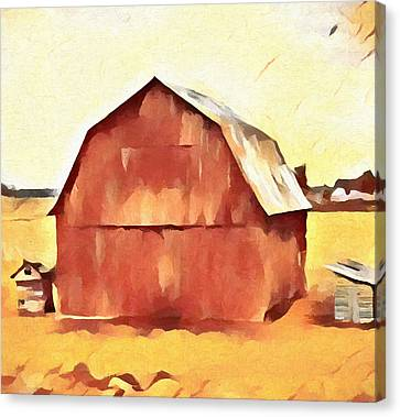 American Gothic Red Barn Canvas Print