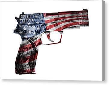 American Gun  Canvas Print by Les Cunliffe